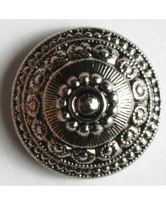 Metallized plastic button - Size: 14mm - Color: antique silver - Art.No. 201086
