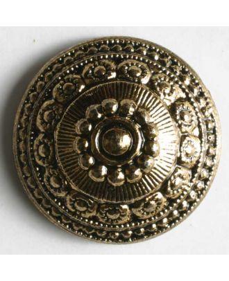 Metallized plastic button - Size: 18mm - Color: antique gold - Art.No. 450036
