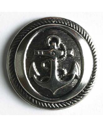 Anchor button, metallized plastic - Size: 14mm - Color: antique silver - Art.No. 190512