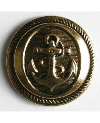 Anchor button, metallized plastic - Size: 21mm - Color: antique gold - Art.No. 270266