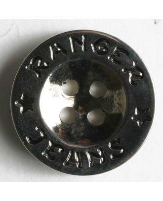 Metallized plastic button - Size: 18mm - Color: antique silver - Art.No. 200078