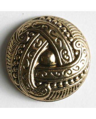 Metallized plastic button - Size: 15mm - Color: antique gold - Art.No. 200582