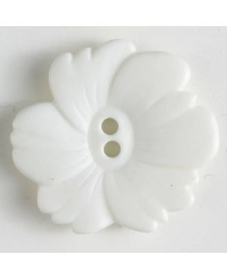 plastic button flower with 2 holes - Size: 20mm - Color: white - Art.No. 260946