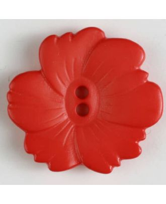 plastic button flower with 2 holes - Size: 25mm - Color: red - Art.No. 304605