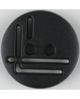 polyamide button, round, 2 holes - Size: 14mm - Color: black - Art.No. 211693