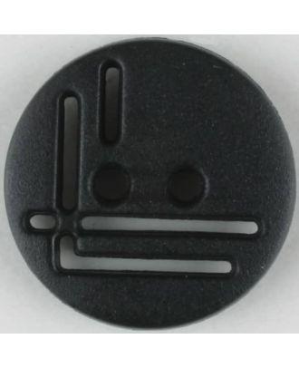 polyamide button, round, 2 holes - Size: 14mm - Color: black - Art.No. 211693