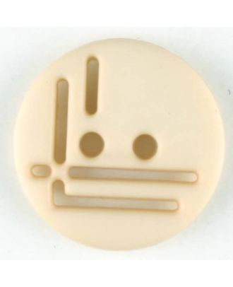 polyamide button, round, 2 holes - Size: 14mm - Color: beige - Art.No. 215703