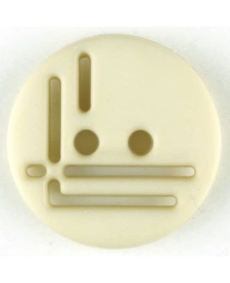 polyamide button, round, 2 holes - Size: 14mm - Color: beige - Art.No. 215704