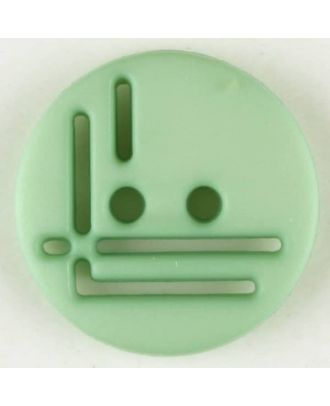 polyamide button, round, 2 holes - Size: 14mm - Color: green - Art.No. 215713