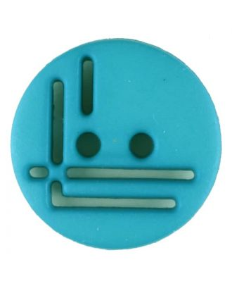 polyamide button, round, 2 holes - Size: 14mm - Color: green - Art.No. 215714