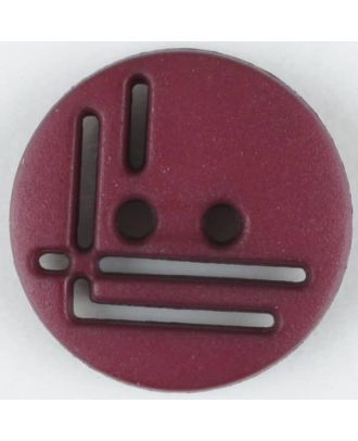 polyamide button, round, 2 holes - Size: 14mm - Color: wine red - Art.No. 215719
