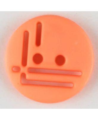 polyamide button, round, 2 holes - Size: 14mm - Color: orange - Art.No. 215721
