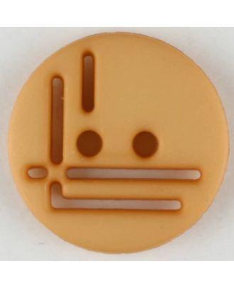 polyamide button, round, 2 holes - Size: 14mm - Color: orange - Art.No. 215722