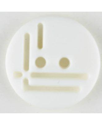 polyamide button, round, 2 holes - Size: 14mm - Color: white - Art.No. 211692