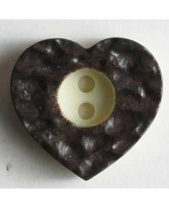 Heart button - Size: 13mm - Color: brown - Art.No. 190989
