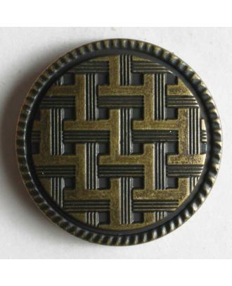Metallized plastic button - Size: 20mm - Color: antique brass - Art.No. 250776