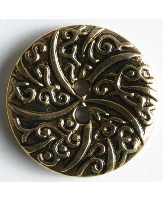 Metallized plastic button - Size: 25mm - Color: antique gold - Art.No. 310177