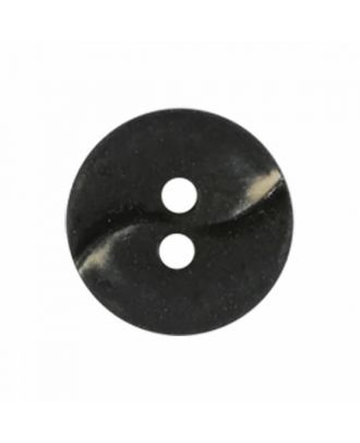 small polyamide button with a wave and two holes - Size: 13mm - Color: black - Art.No. 221927