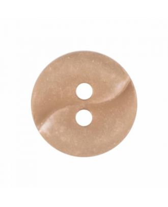 small polyamide button with a wave and two holes - Size: 13mm - Color: beige - Art.No. 225802