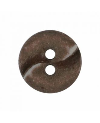 small polyamide button with a wave and two holes - Size: 13mm - Color: brown - Art.No. 225804