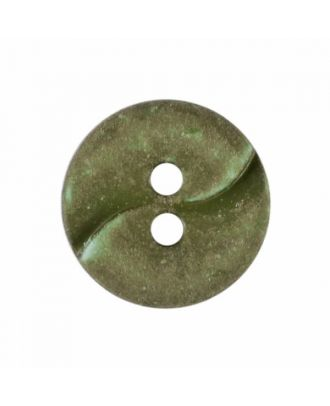 small polyamide button with a wave and two holes - Size: 13mm - Color: green - Art.No. 225816