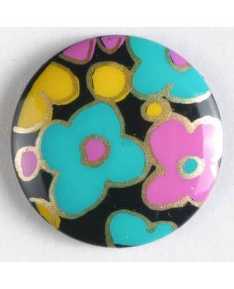 printed plastic button - Size: 19mm - Color: black - Art.No. 260814
