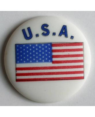 USA button flag with shank - Size: 25mm - Color: white - Art.No. 300603