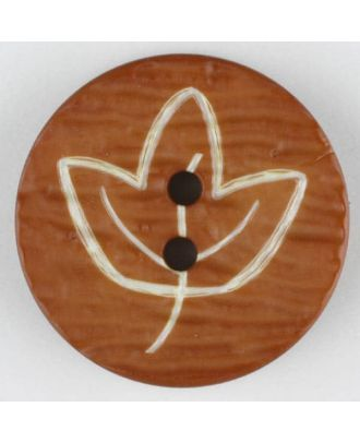 polyamide button with flower, 2 holes - Size: 18mm - Color: brown - Art.No. 251358