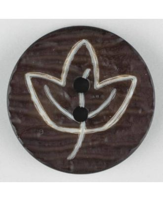 polyamide button with flower, 2 holes - Size: 18mm - Color: brown - Art.No. 251359