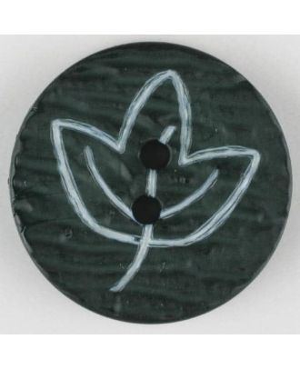 polyamide button with flower, 2 holes - Size: 18mm - Color: green - Art.No. 251360