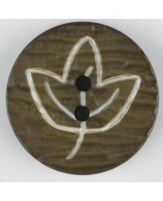 polyamide button with flower, 2 holes - Size: 18mm - Color: green - Art.No. 251361