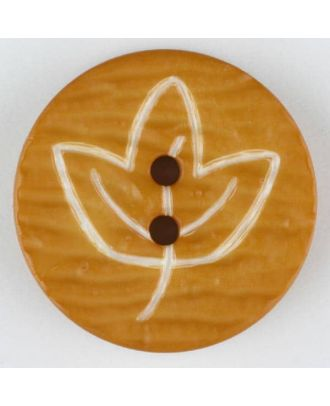 polyamide button with flower, 2 holes - Size: 28mm - Color: orange - Art.No. 340525