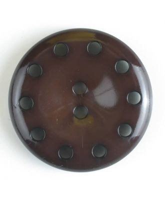plastic button with 10 holes - Size: 38mm - Color: brown - Art.No. 380181