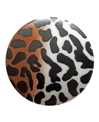 polyamidbutton  animal print with shank - Size: 20mm - Color: white - Art.No. 311029