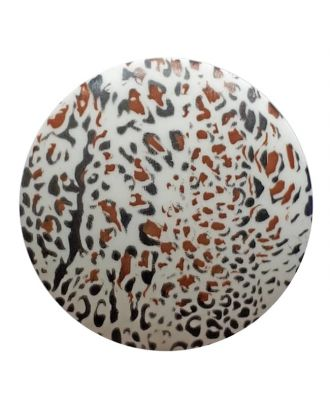polyamidbutton  animal print with shank - Size: 20mm - Color: white - Art.No. 311031