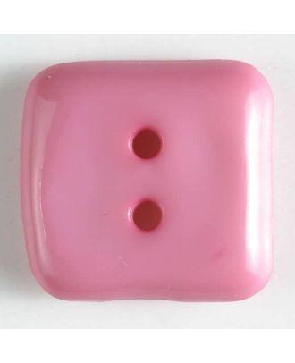 plastic button, square - Size: 20mm - Color: pink - Art.No. 267504