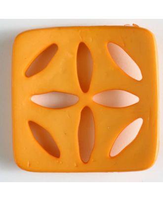 plastic button, square - Size: 60mm - Color: orange - Art.No. 440077