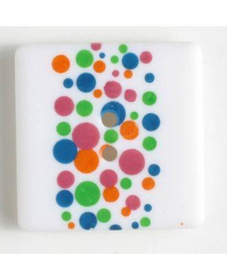 plastic button, square - Size: 25mm - Color: printed - Art.No. 330693