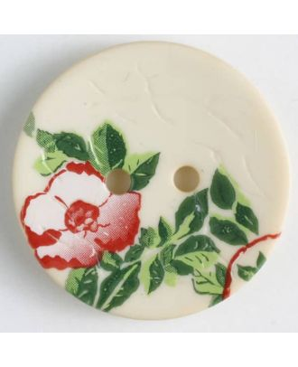 polyamide button with rose, 2 holes - Size: 20mm - Color: beige - Art.No. 310845