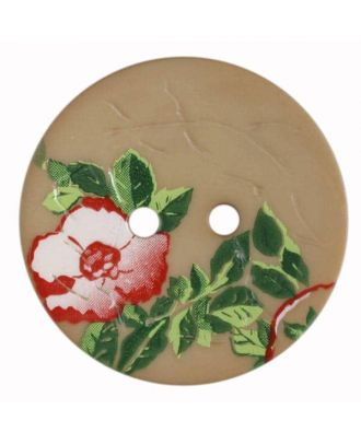 polyamide button with rose, 2 holes - Size: 23mm - Color: beige - Art.No. 330886