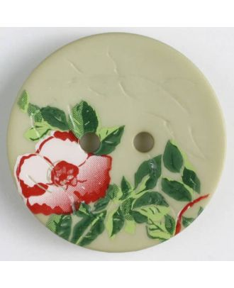 polyamide button with rose, 2 holes - Size: 28mm - Color: green - Art.No. 370657