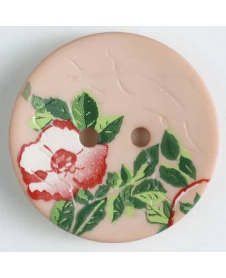 polyamide button with rose, 2 holes - Size: 23mm - Color: pink - Art.No. 330888