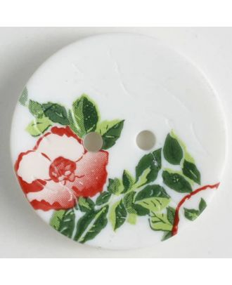 polyamide button with rose, 2 holes - Size: 28mm - Color: white - Art.No. 370654