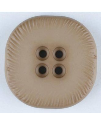 polyamide button, square, 4 holes - Size: 23mm - Color: beige - Art.No. 312708