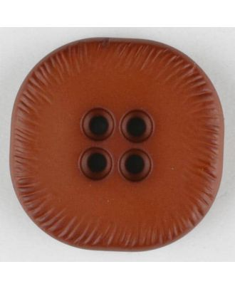 polyamide button, square, 4 holes - Size: 23mm - Color: brown - Art.No. 312709