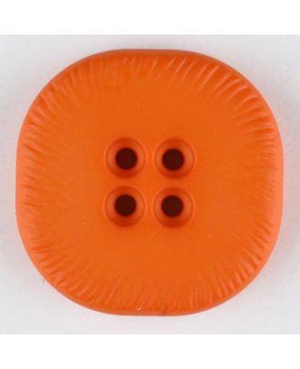 polyamide button, square, 4 holes - Size: 32mm - Color: orange - Art.No. 372716
