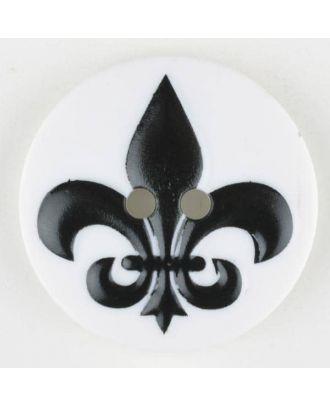 polyamide button, fleur de lis, 2 holes - Size: 30mm - Color: black - Art.No. 370700