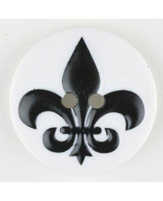polyamide button, fleur de lis, 2 holes - Size: 30mm - Color: black - Art.No. 370700