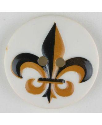 polyamide button, fleur de lis, 2 holes - Size: 30mm - Color: black - Art.No. 370686