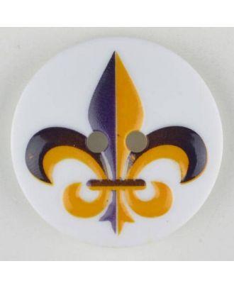 polyamide button, fleur de lis, 2 holes - Size: 30mm - Color: lilac - Art.No. 370703